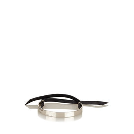 Hermes 925 Sterling Silver Leather Cartouche Bracelet