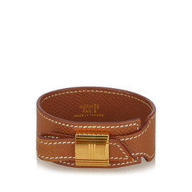 Hermes Gold Tone Metal Artemis Leather Bracelet