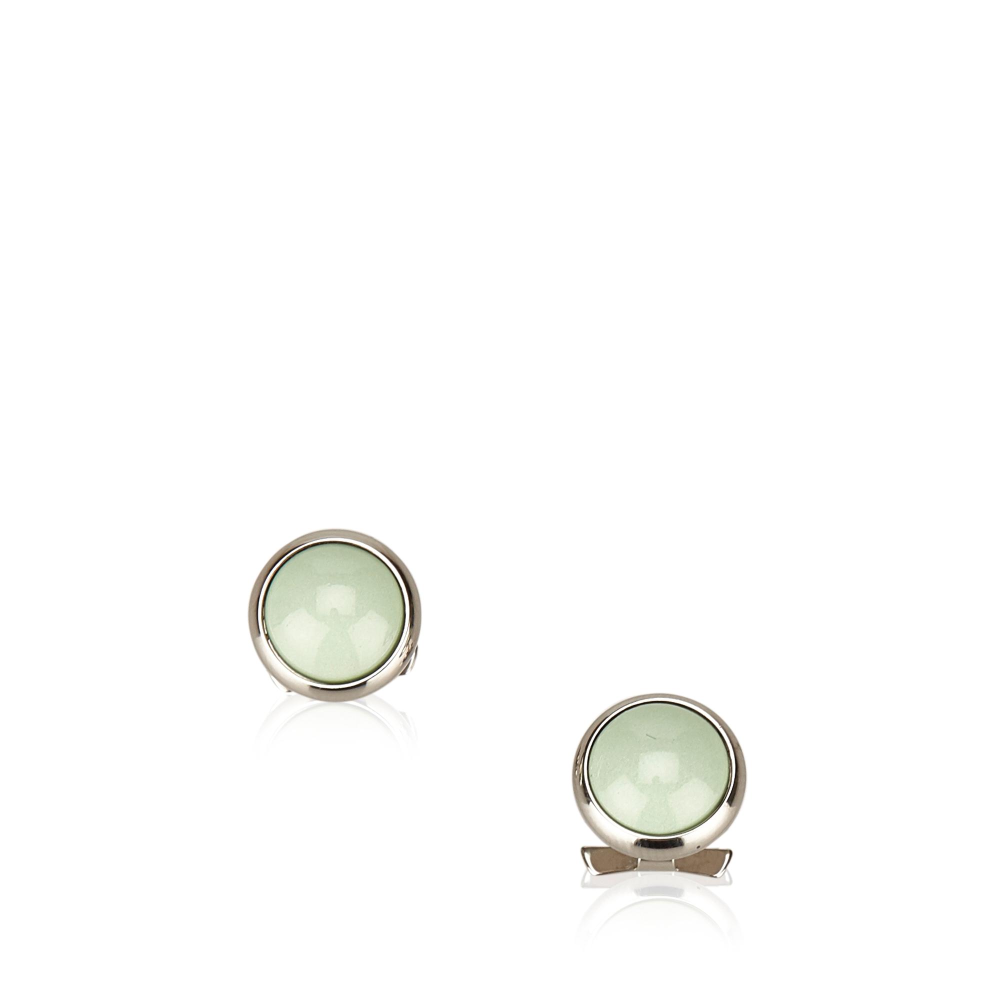 "Image of ""Hermes Plastic Resin Silver Tone Hardware Earrings"""