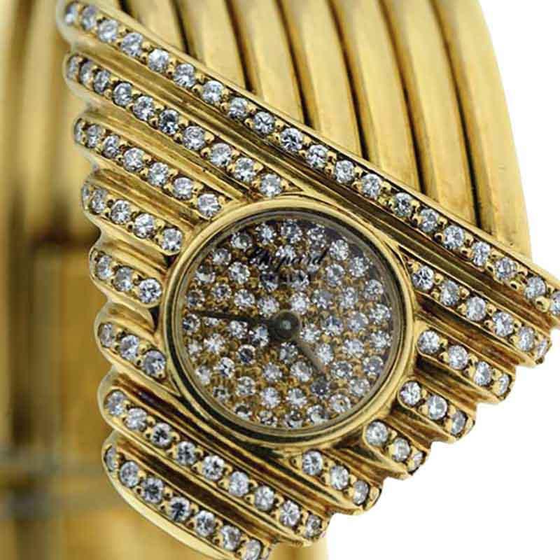 "Image of ""Chopard 18K Yellow Gold with Diamonds Womens Bangle Bracelet Watch"""