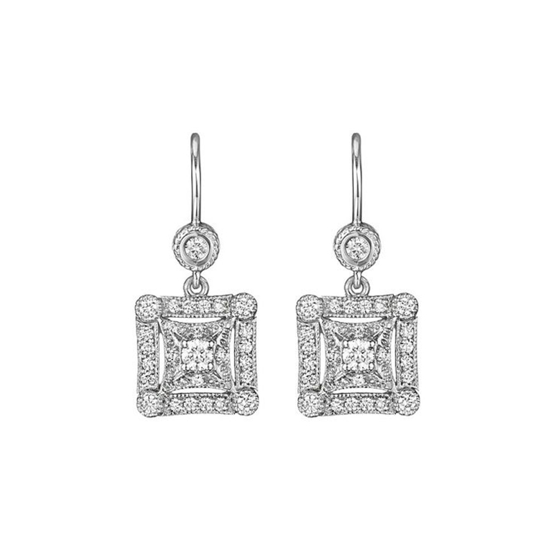 "Image of ""Penny Preville 18K White Gold & Square Diamond Earrings"""