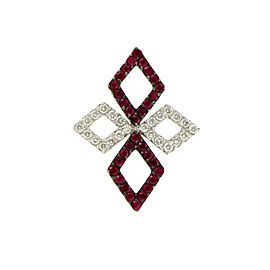 18K White Gold 1.20ct Ruby and Diamonds Pendant