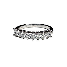 14K White Gold with 1.39ct. Diamond Band Ring Size 6.5