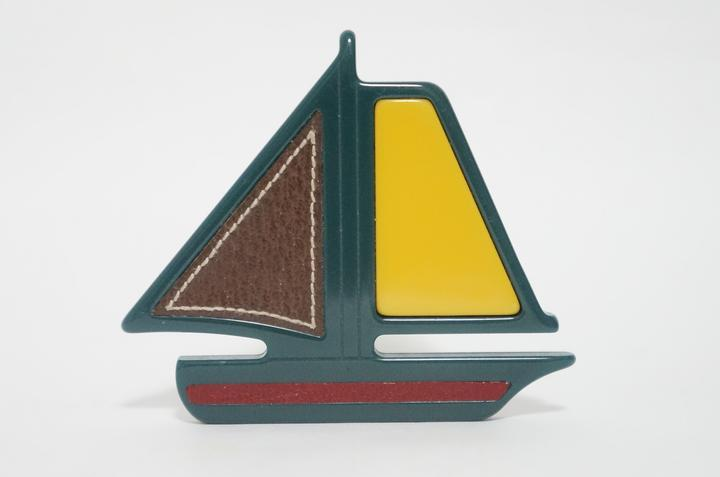 "Image of ""Prada Plastic with Leather Sail Boat Pin Brooch"""