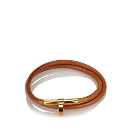 Hermes Leather & Gold Tone Metal Choker Necklace
