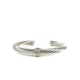 David Yurman Sterling Silver & 18K Yellow Gold 0.21ct Diamond Station Cable Bracelet