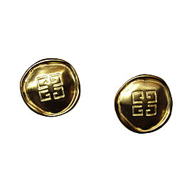 Givenchy 18K Gold Plated Metal Monogram Coin Clip-On Earrings