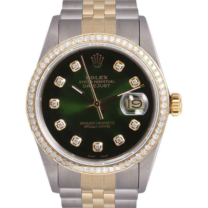 """Image of """"Rolex Datejust Stainless Steel & 18K Yellow Gold Green Vignette"""""""