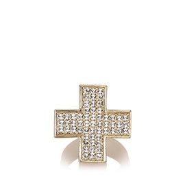 Chanel Gold Tone Rhinestone Cross Ring Size 6.5