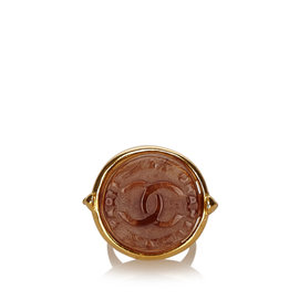 Chanel Gold Tone Metal CC Resin Ring Size 6.0