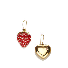 Louis Vuitton Gold Tone Metal Fraises Drop Earrings