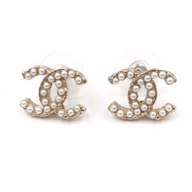 Chanel Gold Tone Twisted CC Pearl Piercing Earrings