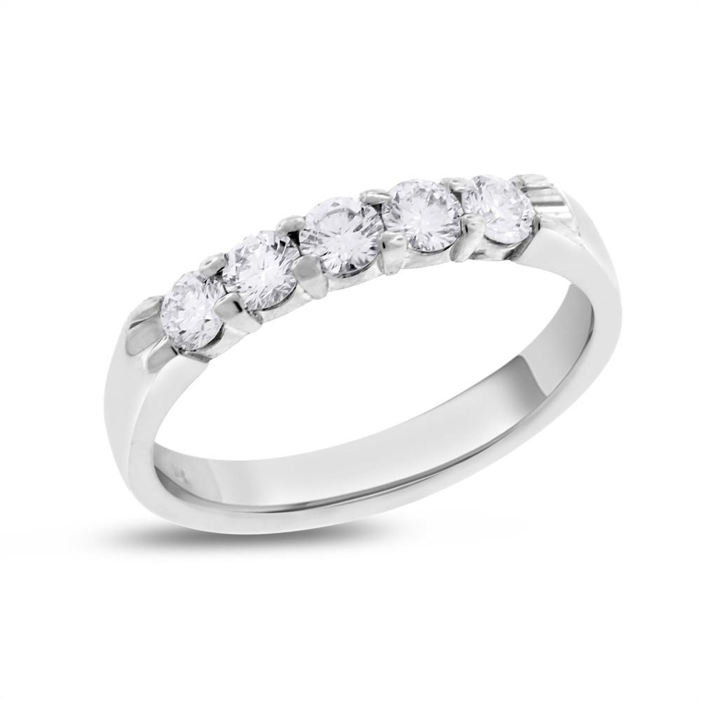 "Image of ""14k White Gold 0.50ct. Round Diamond Five Stone Wedding Band Size 7"""
