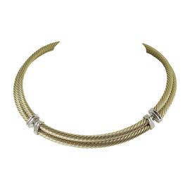 David Yurman 18K Yellow & White Gold 2 Row Metro Cable Necklace