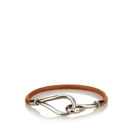 Hermes Silver Tone Hardware Leather Jumbo Hook Double Tour Bracelet