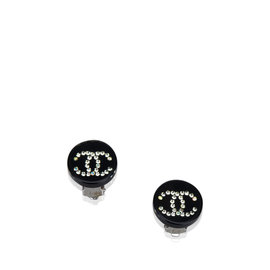 Chanel Plastic and Silver Tone Hardware with Rhinestone Clip on Earrings