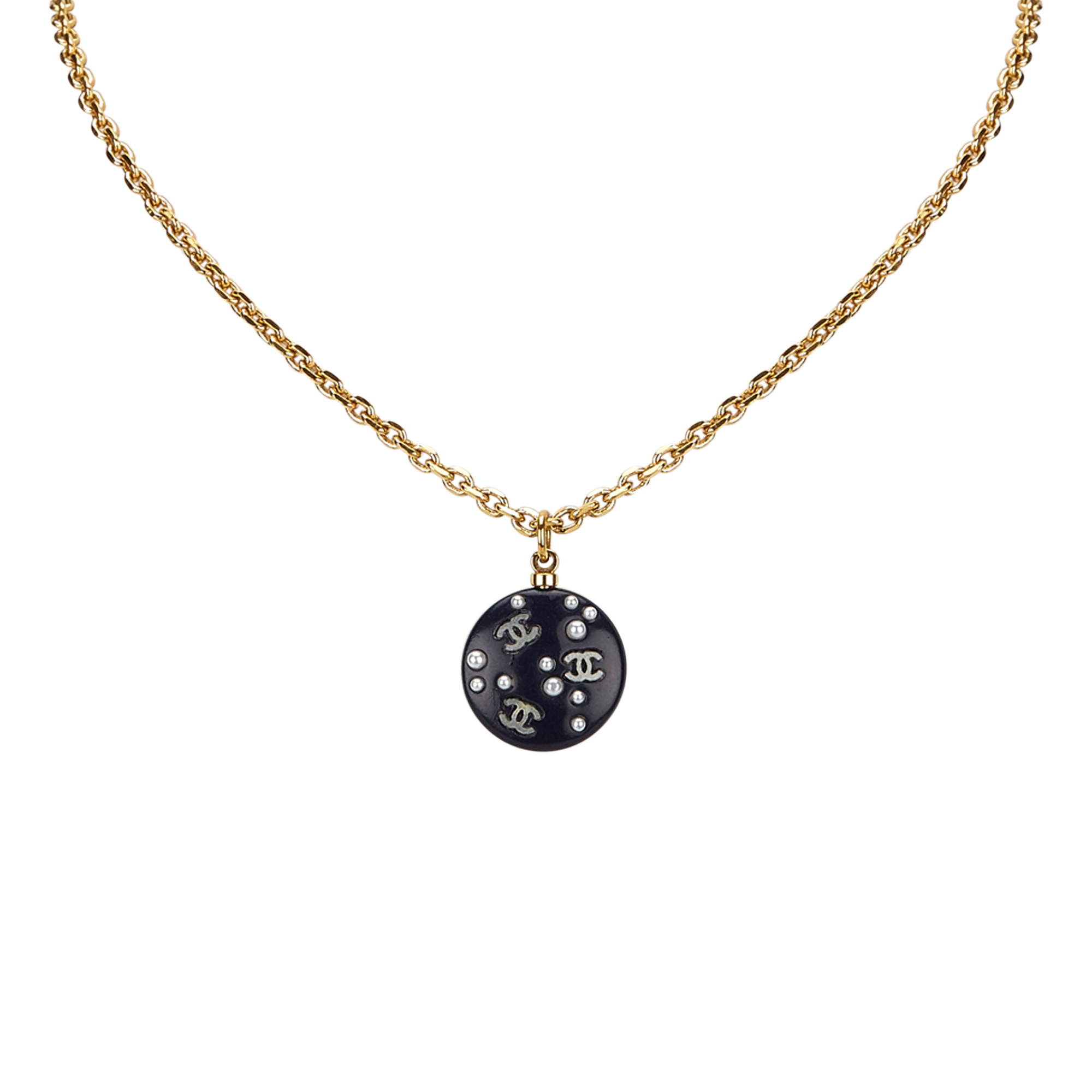 """Image of """"Chanel Plastic & Gold Tone Hardware with Faux Pearl Round Pendant"""""""