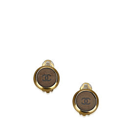 Chanel Gold Tone Hardware and Plastic Clip-On CC Earrings