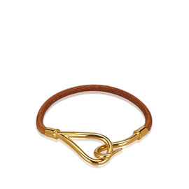 Hermes Leather with Gold Tone Metal Jumbo Bracelet