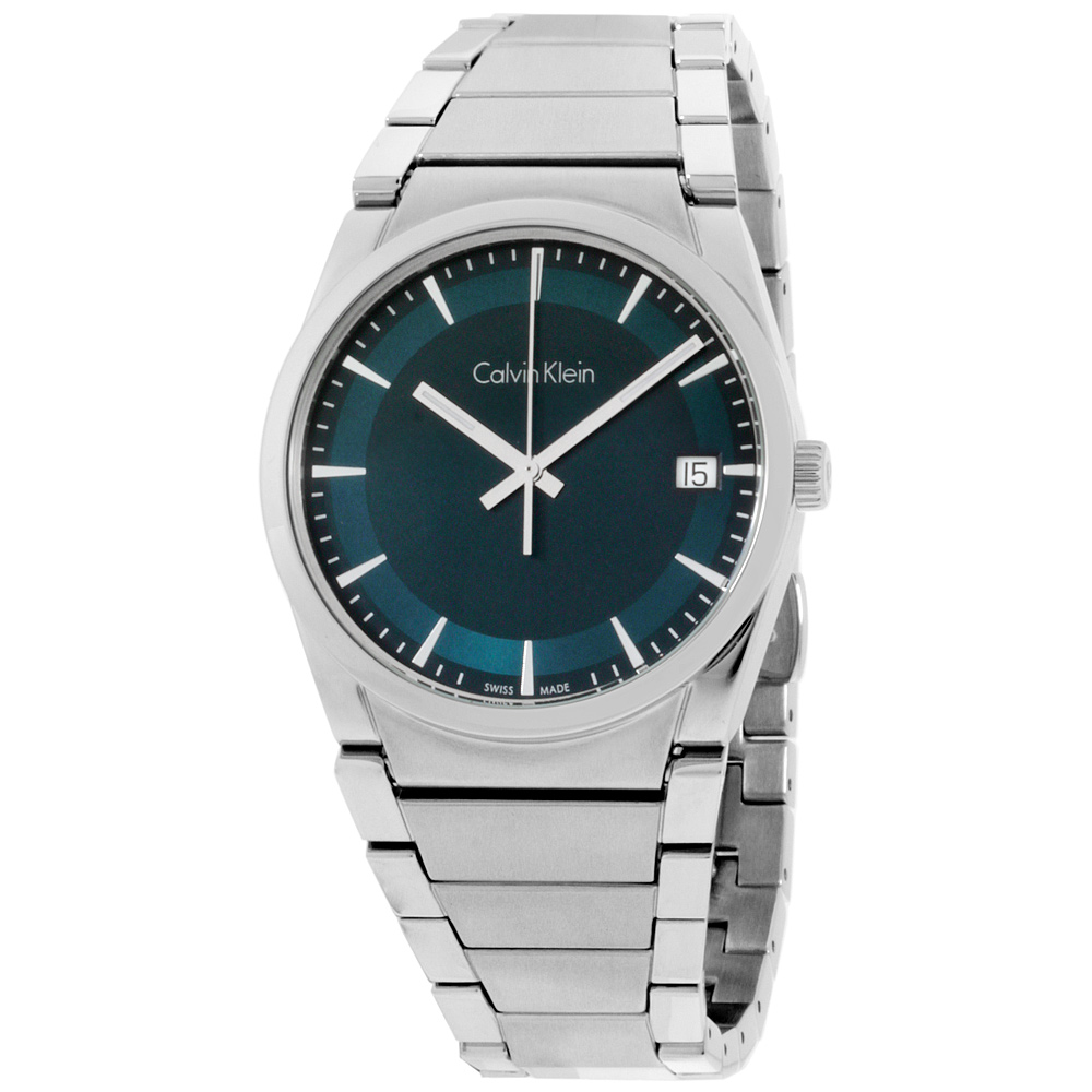 "Image of ""Calvin Klein Step F07.111 Stainless Steel Green Dial 38mm Mens Watch"""