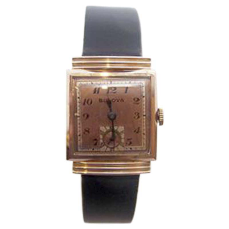 "Image of ""Bulova 14K Rose Gold Plated Vintage 25mm Unisex Watch Year 1940"""