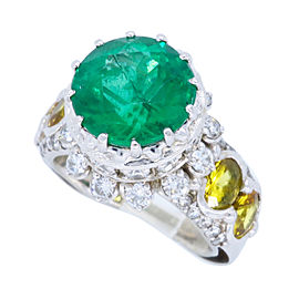 14K White Gold with 1.20ct. Diamond Emerald and Yellow Stone Ring Size 6