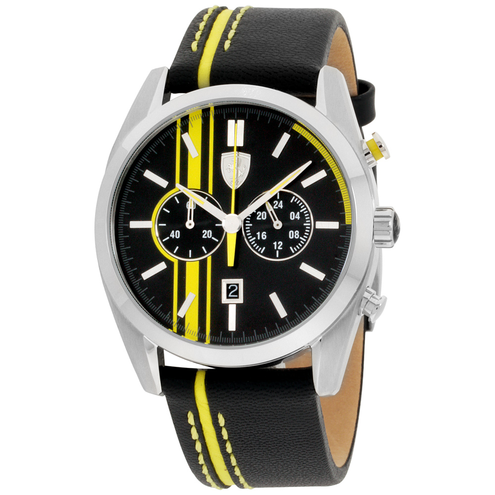 "Image of ""Ferrari 0830235 Stainless Steel / Leather 44mm Mens Watch"""