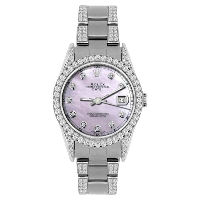 """Image of """"Rolex Date Stainless Steel Pink Mother of Pearl Diamond Dial and Bezel"""""""