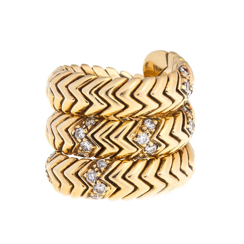 """Image of """"Bvlgari 18k Yellow Gold Spiga Ring with Diamonds"""""""