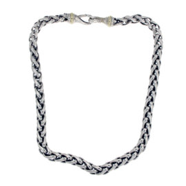 David Yurman 925 Sterling Silver & 14K Yellow Gold Wheat Chain Necklace