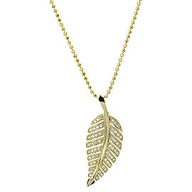 Jennifer Meyer 18K Yellow Gold Diamond Leaf Pendant Necklace