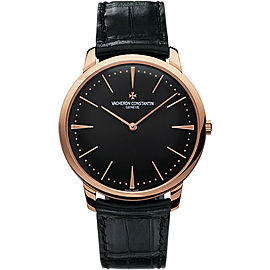 Vacheron Constantin Patrimony 81180/000R-9283 18K Rose Gold & Leather with Black Dial 40mm Mens Watch