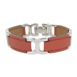 Hermes Silver Tone Hardware Leather Bracelet