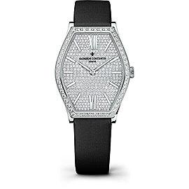 Vacheron Constantin Malte 81510/000G-9895 18K White Gold & Satin with Diamond Pave Dial 28.40mm Womens Watch
