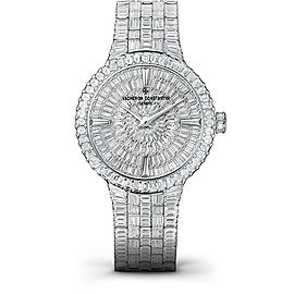 Vacheron Constantin Traditionnelle 81761/QB1G-9862 18K White Gold with Diamond Pave Dial 35mm Womens Watch