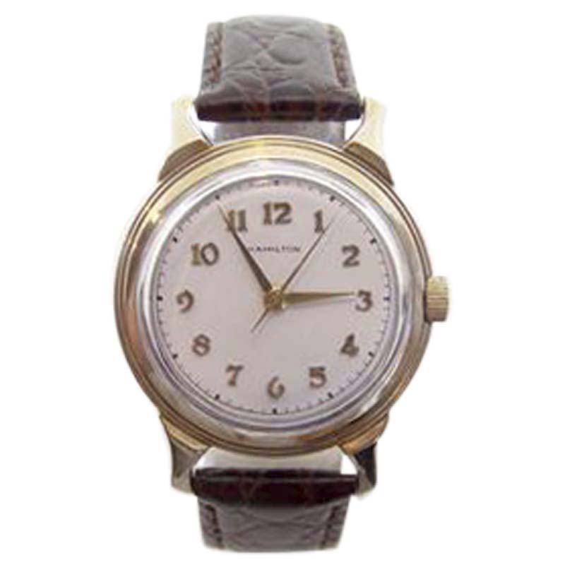 "Image of ""Hamilton 10K Gold Filled Winding 33.5mm Mens Watch 1940s"""