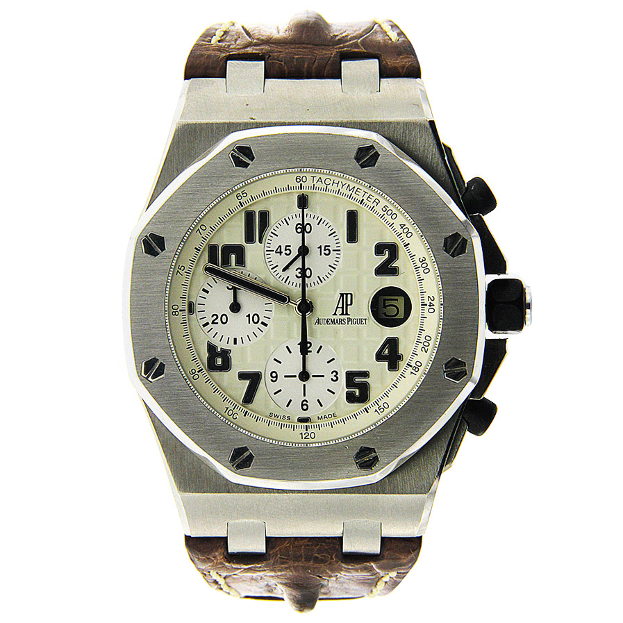"Image of ""Stainless Steel AP Royal Oak Offshore Safari with Brown Strap"""