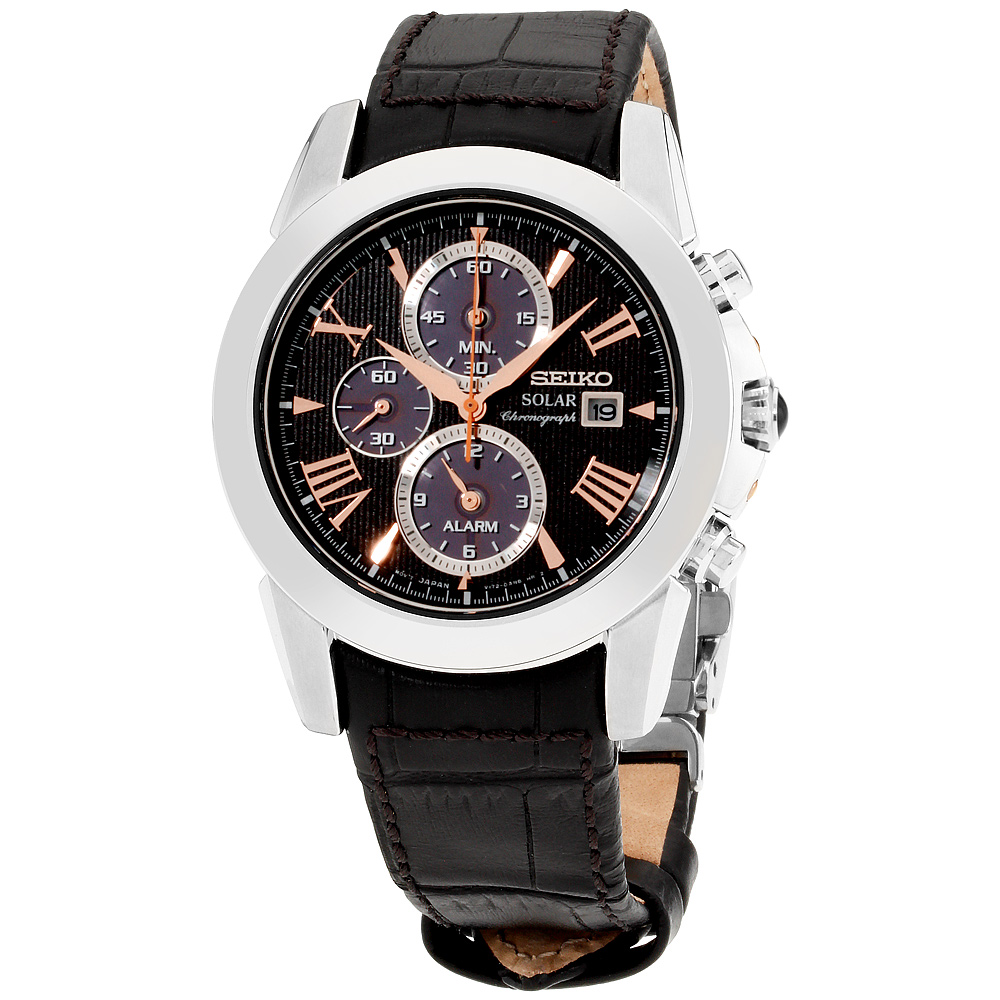 """Image of """"Seiko Le Grand Sport Ssc379 Stainless Steel & Leather Quartz 42mm Mens"""""""