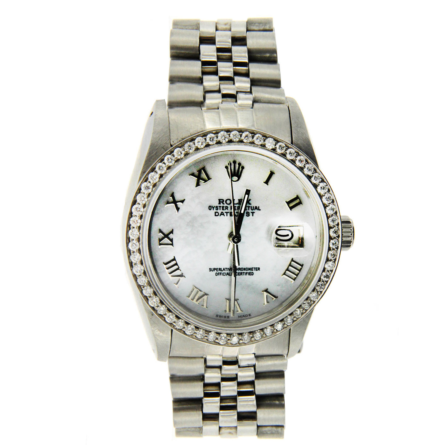 """Image of """"Stainless Steel Datejust Rolex with Diamond Bezel"""""""