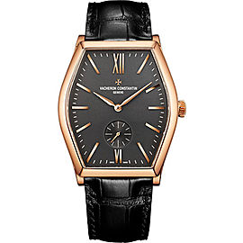 Vacheron Constantin Malte 82230/000R-9716 18K Rose Gold & Leather with Grey Dial 36.7mm Mens Watch