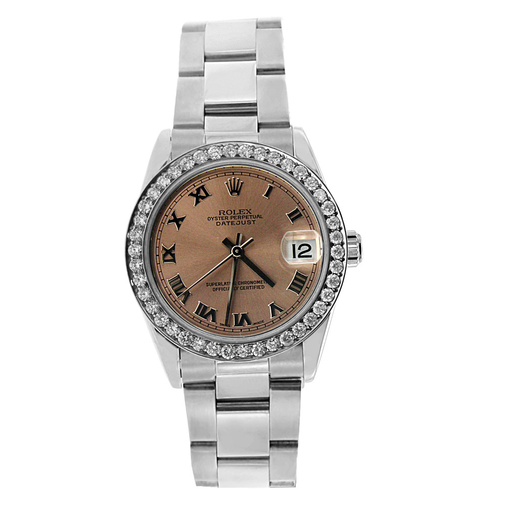 "Image of ""Stainless Steel Diamond Mid-Size Datejust Rolex"""