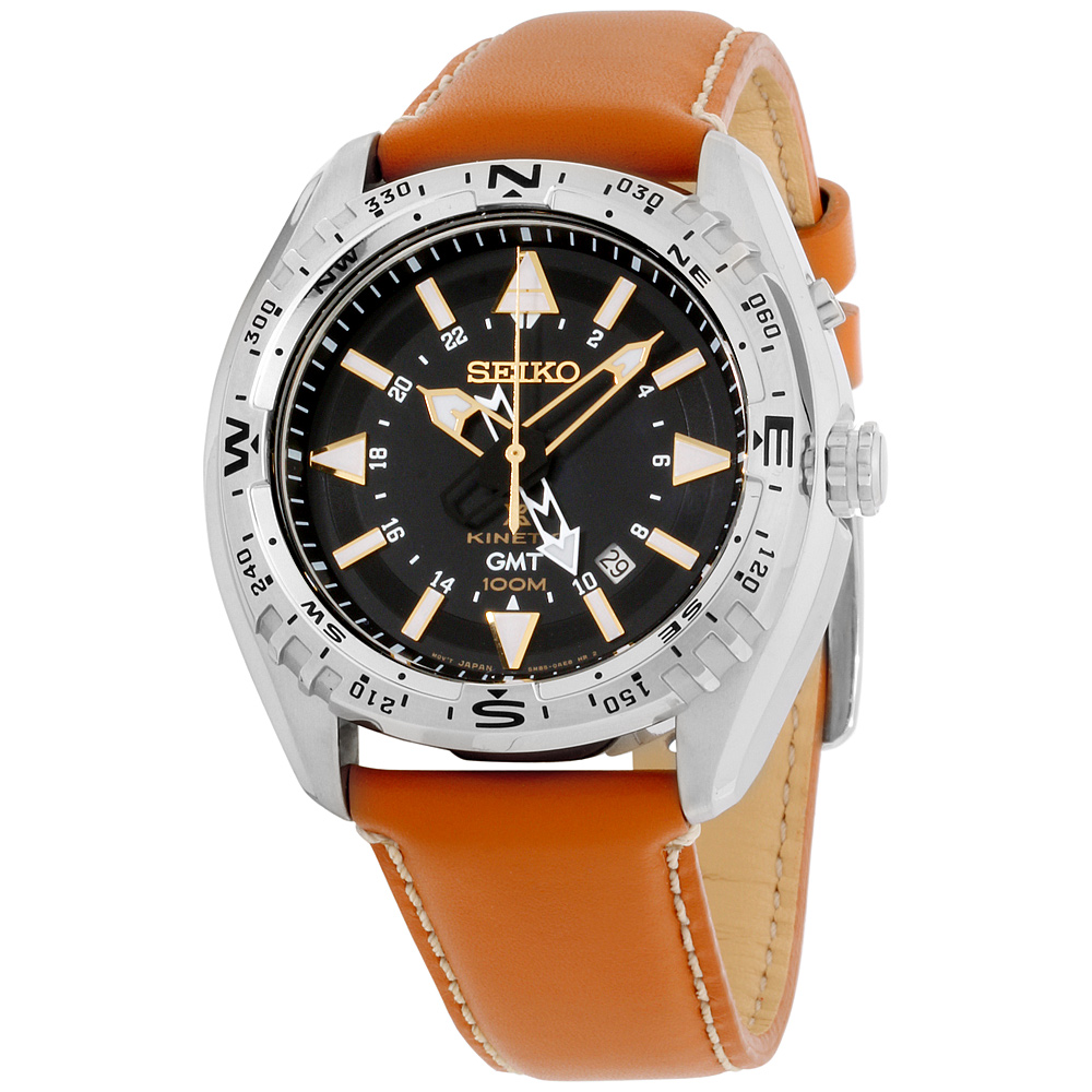 """Image of """"Seiko Prospex Sun055 Stainless Steel and Leather with Black Dial 45mm"""""""