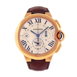 Cartier Ballon Bleu W6920009 18K Rose Gold & Brown Leather Silver Dial Automatic 46mm Men's Watch