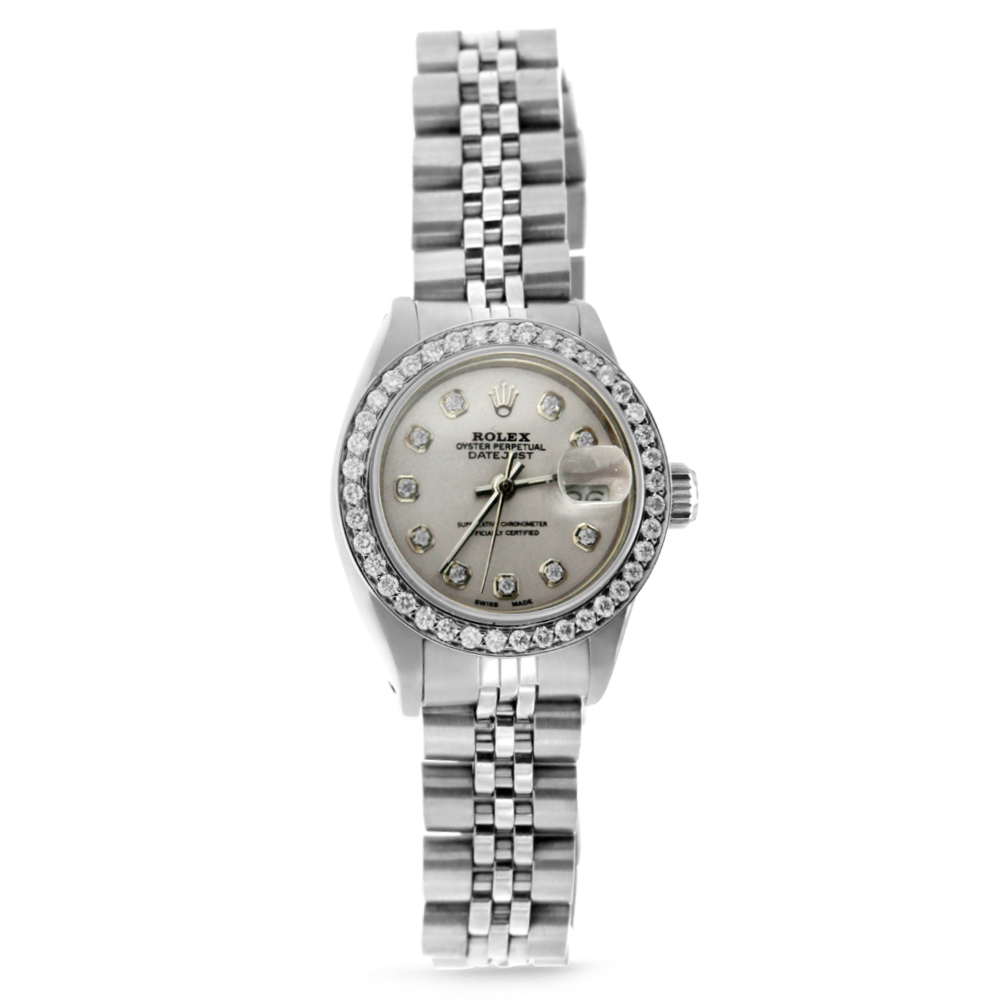 "Image of ""Stainless Steel Datejust Rolex wth Diamonds"""