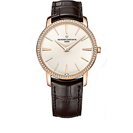 Vacheron Constantin Traditionnelle 82573/000R-9815 18K Rose Gold with Silver Dial 38mm Mens Watch