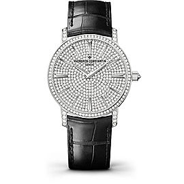 Vacheron Constantin Traditionnelle 82673/000G-9821 18K White Gold with Diamond Pave Dial 38mm Mens Watch