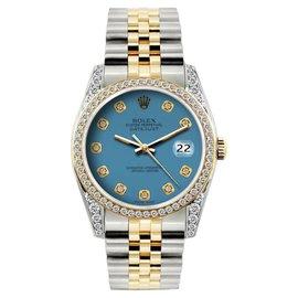 Rolex Datejust 18K Yellow Gold & Stainless Steel 2.5ct Diamond 36mm Watch