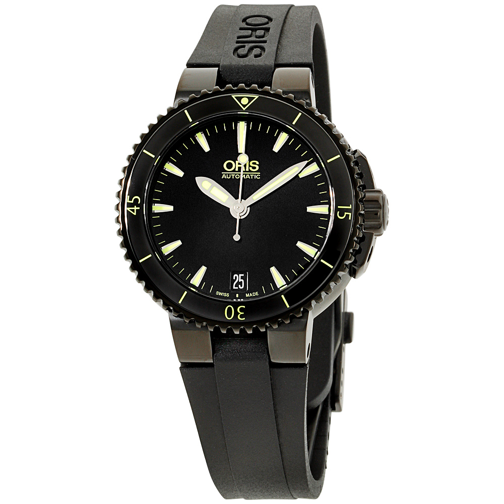 "Image of ""Oris Aquis 73376524722Rs Date Black Dial Silicone Strap 36mm Unisex"""