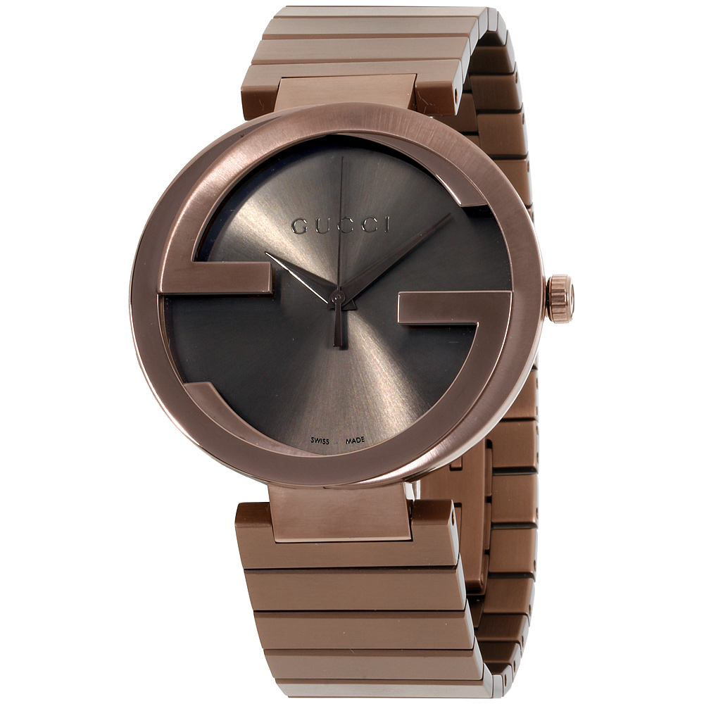 """Image of """"Gucci Interlocking Ya133211 Brown Dial Stainless Steel 42mm Womens"""""""