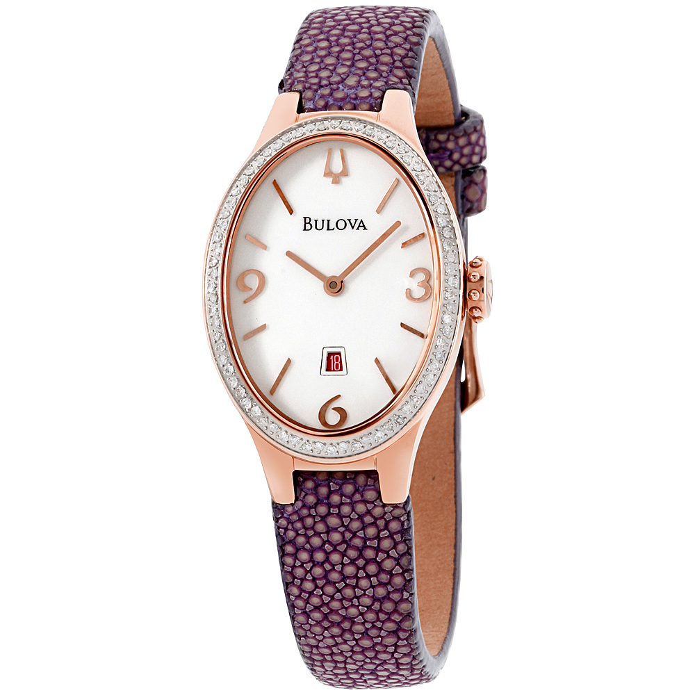 "Image of ""Bulova 98R198 Rose Gold Tone Stainless Steel and Leather Quartz 25mm"""